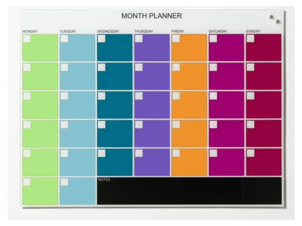 NAGA, Magnetic Glass Board - Month Planner (multi color) 80 x 60 cm