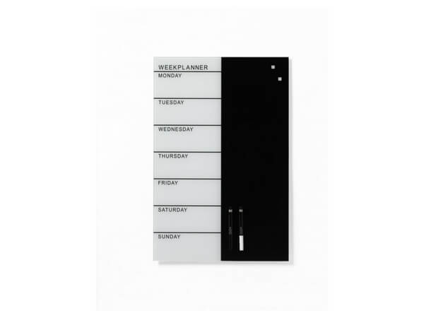NAGA, Magnetic Glass Board - Week Planner White 45 x 45 cm